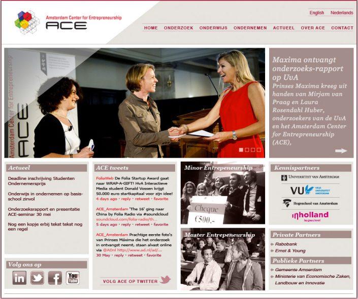 Drupal website voor ACE Center for Entrepreneurship