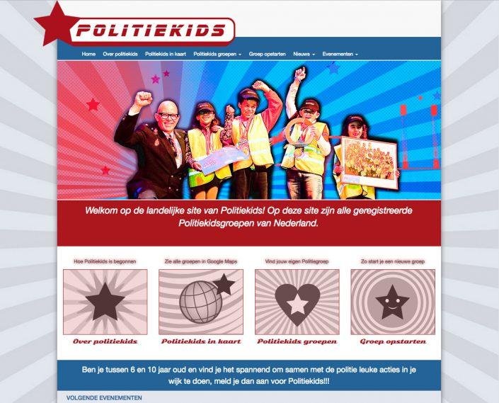 WordPress site op maat gemaakt voor 'het beste buurtproject van Nederland', Politiekids. 16 politiekorpsen deden mee aan dit project; elk korps heeft een eigen gedeelte waar ze de content zelf kunnen beheren.